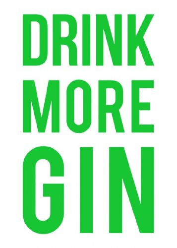 ART - DRINK MORE GIN - GREEN canvas print - self adhesive poster - photo print